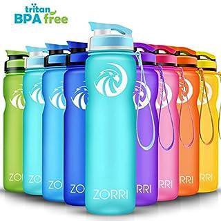 ZORRI Sport Trinkflasche auslaufsicher, BPA Frei & Umweltfreundlich Wasserflasche Für Kinder & Frauen, One Handed Open & Tritan, Für Gym/Outdoor/Camping - Hellblau - 1000ml