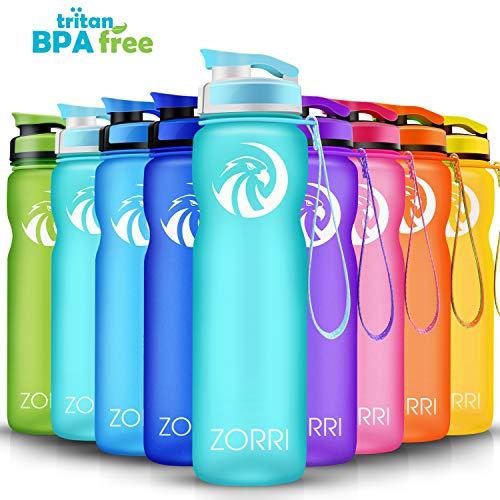 ZORRI Sport Trinkflasche auslaufsicher, BPA Frei & Umweltfreundlich Wasserflasche Für Kinder & Frauen, One Handed Open & Tritan, Für Gym/Outdoor/Camping - Hellblau - 1000ml (Zitronen Fahren Auf)