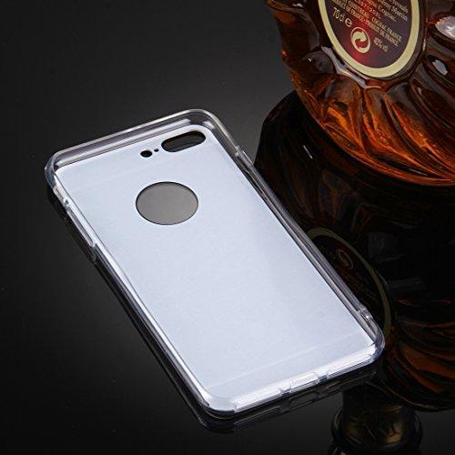 Hülle für iPhone 7 plus , Schutzhülle Für iPhone 7 Plus Galvanik Spiegel TPU Schutzhülle Fall ,hülle für iPhone 7 plus , case for iphone 7 plus ( Color : Rose Gold ) Silver