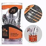 Alaskaprint Set di posate da 24 pezzi Set di posate in acciaio inossidabile con coltello forchetta cucchiaino e cucchiaio per 6 persone (Argento su arancio)