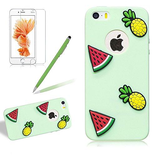Custodia per iphone 5s/5/se carino silicone colorata - 3d kawaii leggero morbido antiurto disegno cover case in tpu opaco sollievo per iphone 5 / iphone 5s - ananas verde anguria
