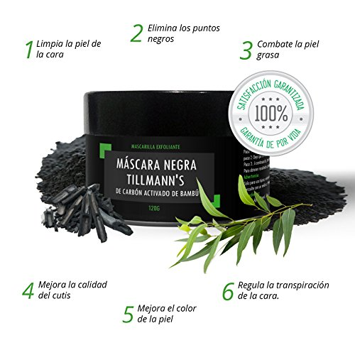 Tillmann s® Mascarilla Negra 120 gramos   Mascarilla Negra Para Puntos Negros   Black Mask Exfoliante Facial de Carbón Activado de Bambú   Elimina Puntos Negros y Espinillas  Exfoliante Peel Off