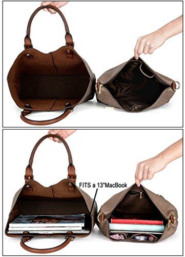 6a2b89b111860 ... UTO Damen Handtasche Set 3 Stücke Tasche PU Leder Shopper klein  Schultertasche Geldbörse Trageband blau Schlamm ...