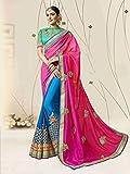 Ankit Fashions Blue Jari Resham Embroidery Chignon Sari