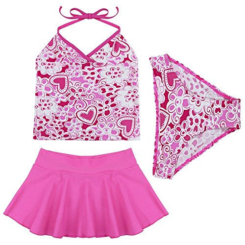 iEFiEL Girls Kids 3PCS Halter Swimsuit Swimwear Tankini Set Swimming Skirt Hot Pink 5-6 Years
