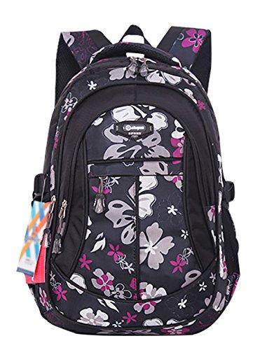SellerFun® Kid Child Girl Flower Printed Waterproof Backpack School Bag(Black,Large)