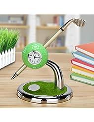 World 9.99 Mall golf gift,Mini desktop golf Clock Ball pen Stand with golf pens 2pcs set of golf souvenir Tour souvenir novelty gift …