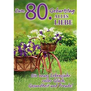 A4 Geburtstagskarte Zum 80 Geburtstag Gluck Gesundheit Freude