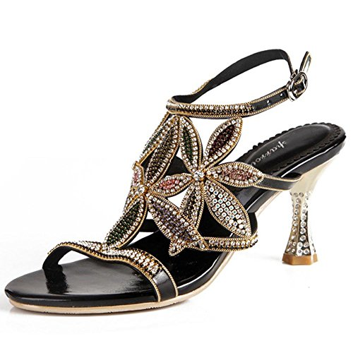 e1710f0309efa0 crystal sandals women diamond handmade thin high heels leather night club  party strap buckle hollow evening banquet pumps shoes . black . 43