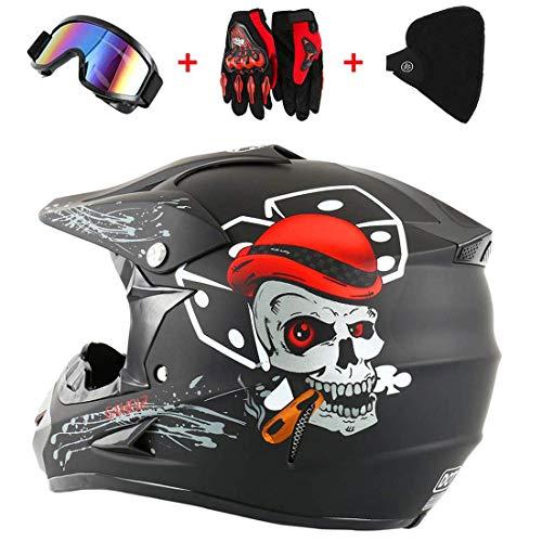 QHYXT Casco da Motocross Moto Fuoristrada Dirt Bike Cool Fantastico Casco Dual Sport Endurance Race/Occhiali/Maschera/Guanti da Gara, S, M, L, XL,L(56-57)-Black