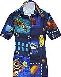 HAPPY BAY 3D HD Partido de Las Mujeres Ropa de Playa clásica Camisa Hawaiana Aloha Verano Regulares Informal S - ES Tamaño :- 42-44 Azul_AA149