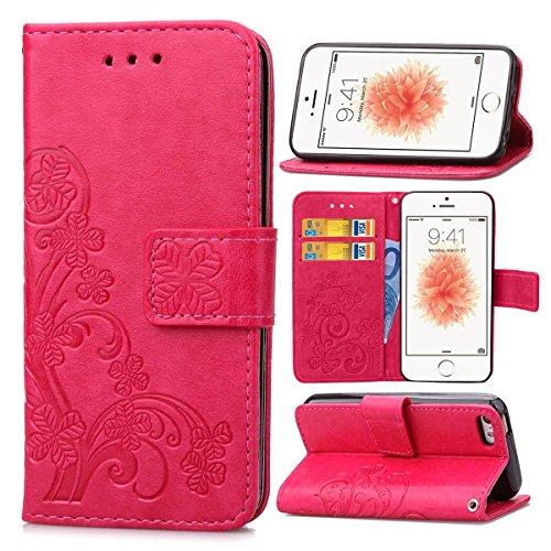 Guran® PU Ledertasche Case für iPhone 5 5S / iPhone SE Smartphone Flip Cover Brieftasche und Stent Funktionen Hülle Glücksklee Muster Design Schutzhülle - Rose rot