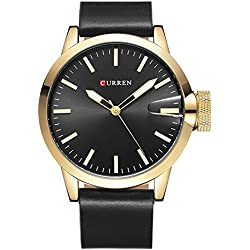 Bonamana Men's Business Style Big Dial Quartz Watches Adjustable Leather Band Precision Military Watch-Gold