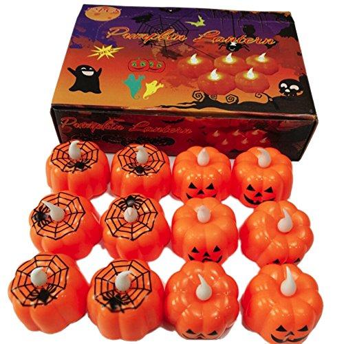 Leezo Halloween LED Lichter Kürbis Spiderweb Schädel Kerzen Nachtlicht für Halloween Party Bar Haunted House Decor Requisiten 12 stücke