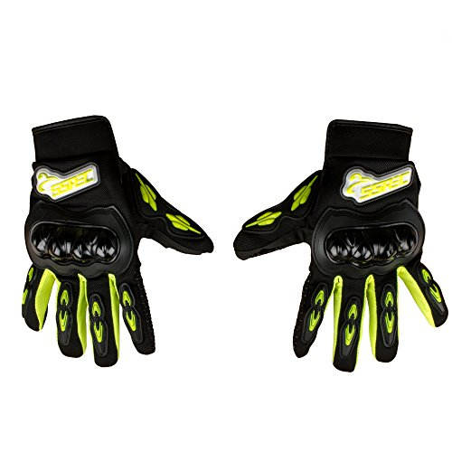 Autofy SSPEC Full Fingers Leather Riding Gloves (Black and Yellow, XXL)
