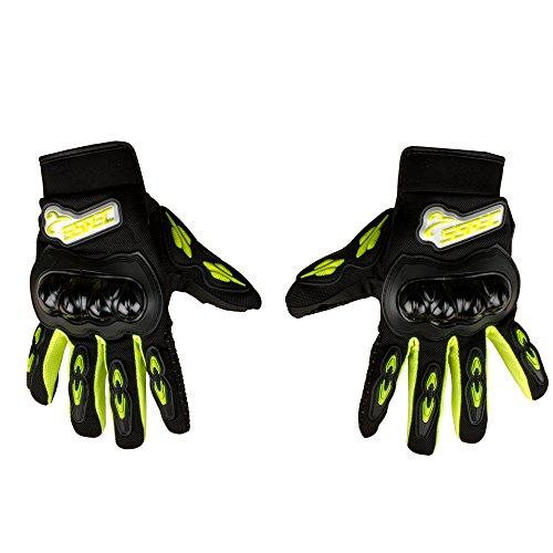 Autofy SSPEC Universal Full Fingers Leather Riding Gloves/Hand Gloves (Black, Yellow/XXL)