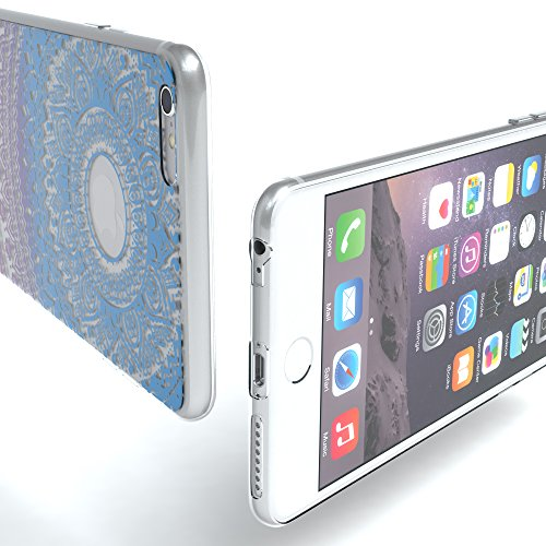 """Apple iPhone 6S Plus / 6 Plus Hülle, EAZY CASE Cover """"Henna"""" - Premium Handyhülle mit Indischer Sonne - Transparente Schutzhülle in Weiß Transparent Blau / Pink"""
