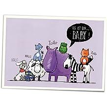 G13874 ES IST EIN M/ÄDCHEN lustige Baby-Gl/ückwunschkarte zur Geburt eines M/ädchen im Retro-//Nostalgie-Stil von EDITION COLIBRI HURRA ; klimaneutral gedruckt