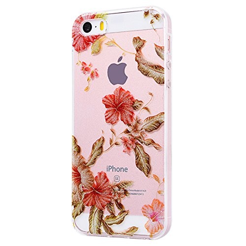 WE LOVE CASE Coque iPhone 5 / 5s / SE, Transparente en Premium Gel Coque iPhone SE Silicone Souple Mince et Clair, Coque de Protection Bumper Gel Motif Fleur Coque Apple iPhone 5 iPhone 5S iPhone SE C Fleur Rouge