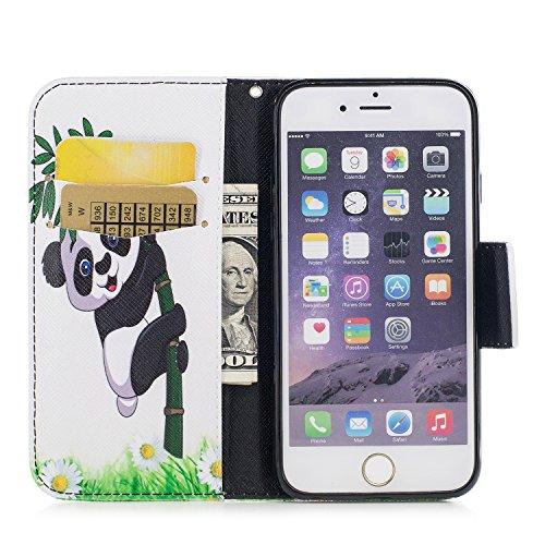 iPhone 6S hülle, Voguecase Kunstleder Tasche PU Schutzhülle Tasche Leder Brieftasche Hülle Case Cover (Rot Rose 02) + Gratis Universal Eingabestift Katzenbär 07