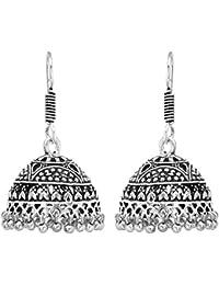 Shreyadzines Designer Traditional Oxidized German Silver Jhumka Jhumki Earrings For Women And Girls