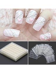iDealhere 30 x Fleur Dentelle 3D Nail Art Sticker Autocollant Décoration (Blanc)