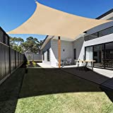 Ankuka Voile d'ombrage Rectangulaire 2x3 mètres, Auvent Imperméable UV Protection pour Jardin Terrasse Extérieur Patio Piscine, avec Corde Libre (Champagne)