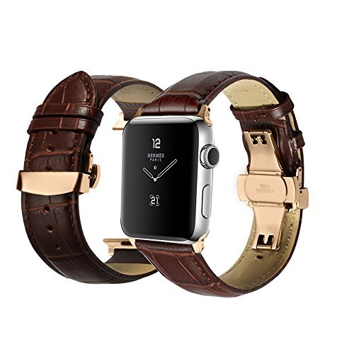 40f9fbc6645 iStrap Alligator Grain Calf Leather Watch Band fit Apple iWatch 42mm Model  Rose Gold Deployment Clasp