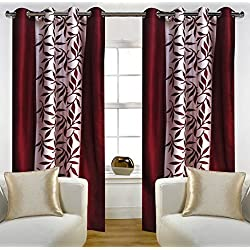 "Home Candy Eyelet Fancy 2 Piece Polyester Door Curtain Set - 84""x48"", Maroon"