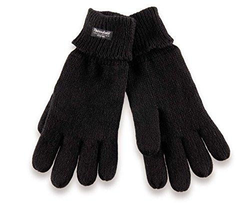 H-COM-1 gestrickte Thinsulate Handschuhe mit Fleecefutter - Fingerhandschuhe für Damen und Herren S M schwarz