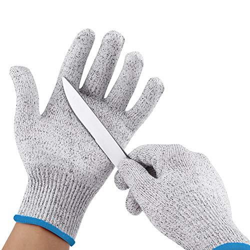Akozon guanti antitaglio livello 5 protezione, 1 paio di hppe guanti resistenti al taglio per attrezzi da giardinaggio cucina protezione da lavoro all'aperto(8m)