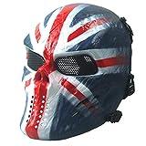 Airsoft Paintball masque de masque de squelette CS de visage plein, militaire tactique pour la partie(Noir)
