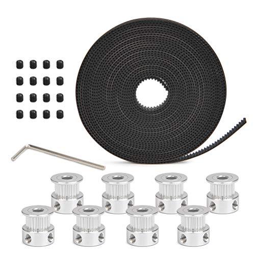 YOTINO Impresora 3D Accesorio, 8PCS 5mm 20 Dientes Rueda de polea de Sincronización+ Correa GT2 de 5m + L-Shaped Hexagonal Wrench para Impresora 3D (con 2 Piezas Grub Screws en Cada polea)