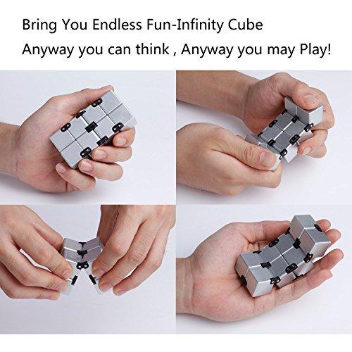 EKKONG Fidgeting di edc di novità – Fidget Cube in Stile con Il cubo Infinite Cube Infinity Cube Fidget Cubo Stress Relief e Ansia Giocattolo per Bambini e Adulti (Argento) - 2