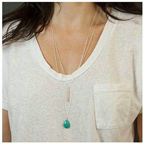 Epinki Damen Damenkette Kette Multi-layer Kette Anhänger Statementkette Silber