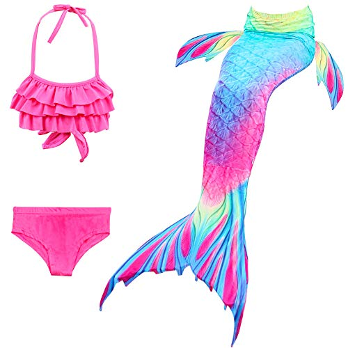 X-Labor Mädchen Cosplay Kostüm Meerjungfrauenschwanz zum Schwimmen 3pcs Bikini Sets Kinder Prinzessin Badeanzug Schwimmanzug rosa 130cm