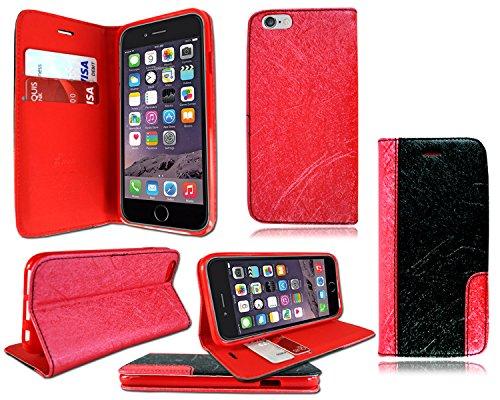 Neues exklusives Design Leder Ständer Wallet Flip Case für Apple i Phone 6Plus Schwarz