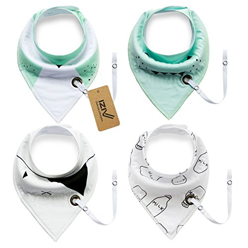 iZiv 4 PACK Baby Bandana Drool Bibs with Adjustable Snaps Pacifier Clip, Waterproof TPU Lining 0-2 Years (Color-3) Test