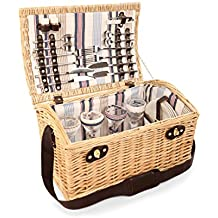 La Greenfield Collection GG035 Oxford Deluxe Picnic Basket per 4 persone in fila a strisce di vimini Champagne /