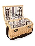 Greenfield Collection (GG035) Deluxe Oxford Picknickkorb für 4Personen, Weide, Futter in Champagne - Beige gestreift