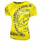 Rusty Neal Herren Rundhals T-Shirt Kurzarm Hemd Slim Fit Design Fashion 15045, Größe:S, Farbe:Neon Gelb