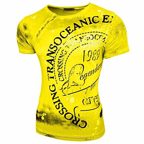 HERREN T-Shirts TShirt NEU Größe S M L M XL XXL RUNDHALS KURZARM Regular RN15045 Neon Gelb