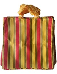 """PM Linnings Non Woven Shopping Bag (SIZE: 15"""" X 15""""-Inches) Yellow & Red - 24 Pcs."""