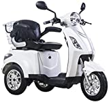 Scooter, E-Mobile, Senior véhicule, E de Tricycle rouge 25 km/h (Blanc)