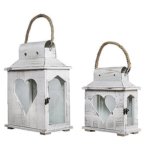 Verre Style Maison - Lanterne cœur blanc en bois style shabby
