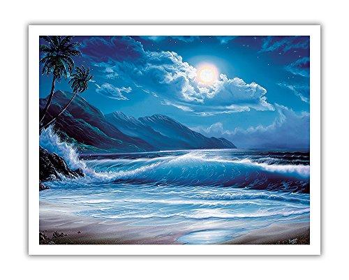 Pacifica Island Art Moonlight Tide, Hawaiian Mondschein Wellen-Original Farbe Malerei, Hawaiian Fine Art Print 11