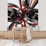 Apalis Vliestapete Shining Red Circles Fototapete Quadrat | Vlies Tapete Wandtapete Wandbild Foto 3D Fototapete für Schlafzimmer Wohnzimmer Küche | Größe: 336x336 cm, rot, 97998
