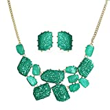 Bling Jewelry Vergoldet Blau Harz bib Halskette Ohrstecker Set