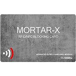 MORTAR-X Carte de Blocage RFID/NFC - Protection Pour Carte Active; 1 Seule Carte pour Protéger tout votre Portefeuille et Passeport Protection - Anti Clonage Sans Fil; S'Adapte Facilement Et Protège L