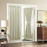 Aquazolax Premium Plain Rod Pocket Blackout Curtains French Door Panels with Tieback Draught